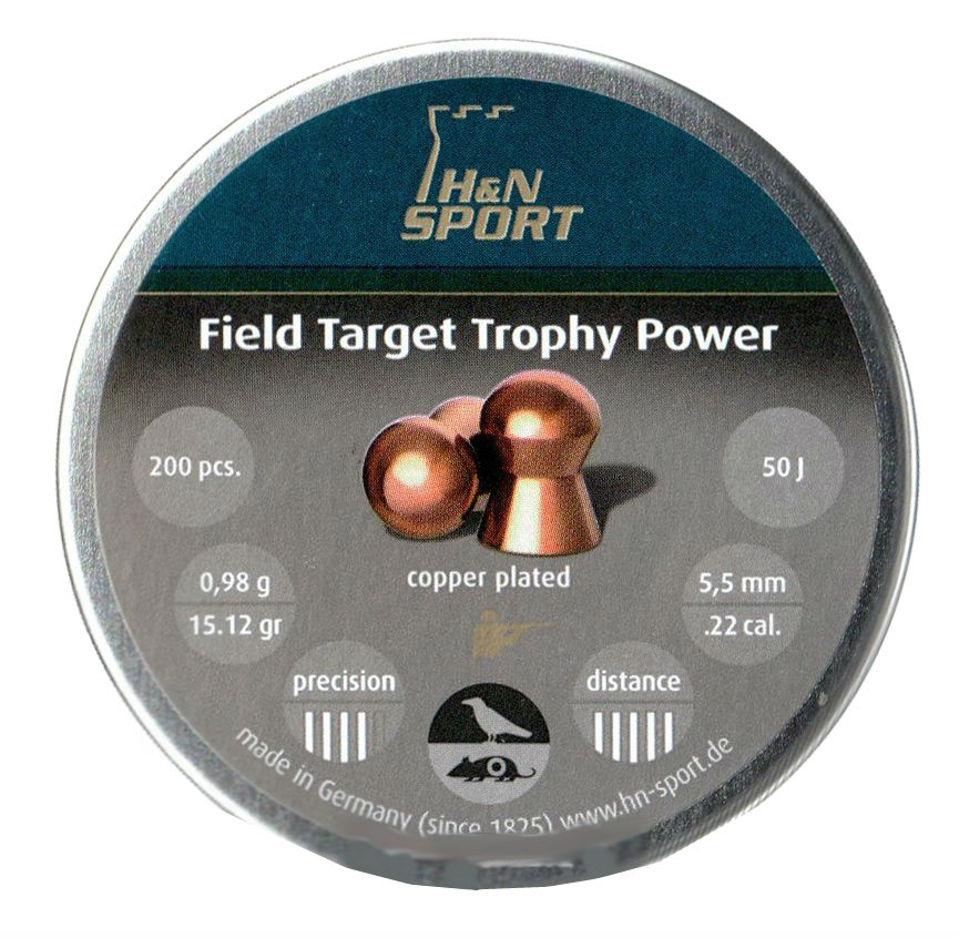 Пули пневматические H&N Field Target Trophy Power 5,5 мм 0,98 грамма (200 шт.) headsize 5,50 мм. Фото N2